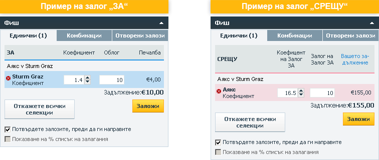 """Betfair примери на залози """"ЗА"""" и """"СРЕЩУ"""""""